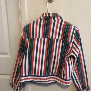 Rainbow Striped Jean Jacket